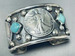 122 Gram Big Coin Native American Turquoise Sterling Silver Bracelet