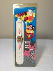 1990 Mighty Mouse Watch - White Band - Lcd Quartz - Viacom - Sealed