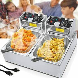 Commercial Deep Fryer Countertop For Home With 2 X 6.34 Qt 2 X 6l Silver