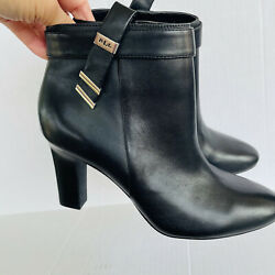 Lauren Brinly Leather Black Closed Toe Ankle Bootiesize 7