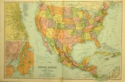 1905 Antique Map United States Mexico Central America New York Chicago Cuba