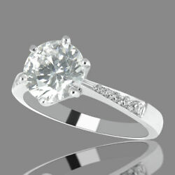 1 Ct Natural Diamond Engagement Ring Round H/si2 18k White Gold Size 6
