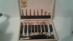 Vintage X-acto 17 Pieces Wood Box Set Specialty Craft Handles Leather