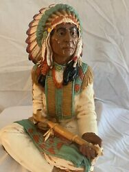 Vintage Universal Statuary 1980 691 Sitting Indian Chief