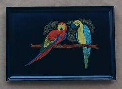 Gorgeous Rare Large Black Couroc Tray Parrots Great Condition Handmade In Cali