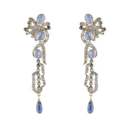 18k Gold Sterling Silver Studded Natural Diamond Blue Sapphire Vintage Earrings