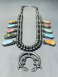 Colorful Vintage Navajo Turquoise Sterling Silver Squash Blossom Necklace