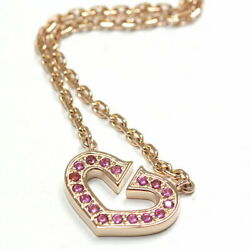 Symbol Necklace Heart Of Pink Sapphire Gold K18pg 40cm 750pg Seco _58156