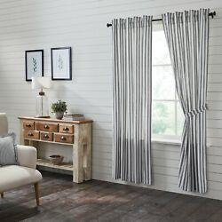Vhc Sawyer Mill Black White Ticking Lined Country Farmhouse Window Panels
