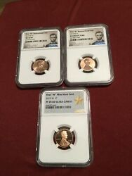 2019 W Lincoln Cent 3 Coin Set-ngc Pf70rd Ultra Cameo Rp70rd And Ms70rd