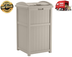 33 Gallon Hideaway Trash Can For Patio - Resin Outdoor Trash With Lid