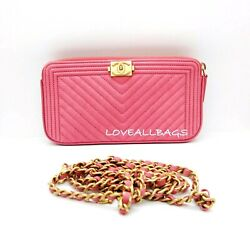 Sold Out Chevron Caviar Wallet On Chain Clutch Bag Rose Pink Gold Chain