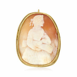 C. 1950 Vintage Carved Shell Cameo Pin/pendant In 9kt Yellow Gold