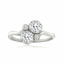C. 1950 Vintage .90 Ct. T.w. Diamond Bypass Ring In 14kt White Gold. Size 7.5