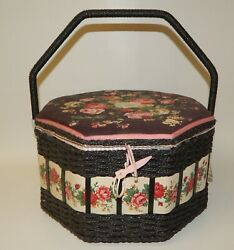 Azar Large Vintage Woven Wicker Sewing Basket Box - Blooming Roses - Nwt