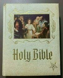 1971 Masonic Master Reference Edition Heirloom Red Letter Holy Bible Gold Gilt