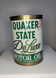 Vintage Metal Quaker State Deluxe 10w 40hd Motor Oil Can - 1 Quart Unopened Full
