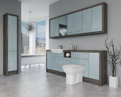Bathroom Fitted Furniture 2200mm Duck Egg Blue Gloss / Mali Wenge D3 With Wall And