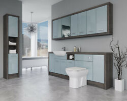 Bathroom Fitted Furniture 2200mm Duck Egg Blue Gloss / Mali Wenge D4 With Wall And