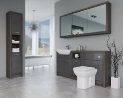 Bathroom Fitted Furniture 1700mm Dark Grey Gloss / Mali Wenge D2 With Wall And Tal