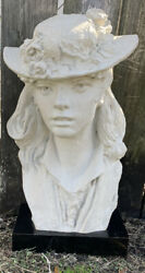 Vintage Bust Sculpture Young Girl In A Hat Austin Productions 1979 'robin'