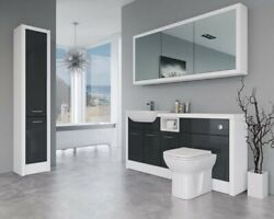 Bathroom Fitted Furniture 1700mm Anthracite Gloss / White Matt D1 With Wall And Ta