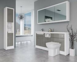 Bathroom Fitted Furniture 1700mm Latte Gloss / White Matt D2 With Wall And Tall Un