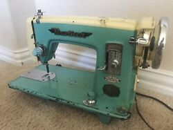 Vintage 50s Turquoise Japan Brother Sewing Machine Precision Super Streamline