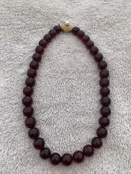 Vintage Cherry Amber Bakelite Long Bead Necklace With Heavy 14k Gold Clasp