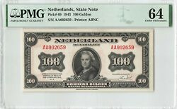 Netherlands 100 Gulden 1943 State Note Abnc Pick 69 Pmg Choice Uncirculated 64