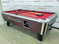 7and039 Valley Commercial Coin-op Pool Table Model Zd-8 With New Red Cloth