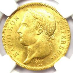 1811-a France Napoleon Gold 40 Francs Coin G40f - Certified Ngc Ms62 Bu Unc