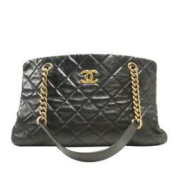 Black Chain Shoulder Tote Bag Quilted Calfskin Leather