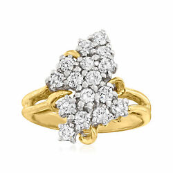 C. 1990 Vintage 1.00 Ct. T.w. Diamond Cluster Ring In 14kt Yellow Gold. Size 6