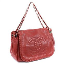 Coco Mark Flap Chain Shoulder Bag Women And039s Red Razor Nu _56666