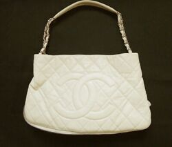 Chain Shoulder Bag Caviar Skin Cream Women And039s Hand Secondhand 1000 _56715