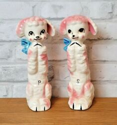 Tall Poodle Dog Salt And Pepper Shakers Pink White 7.5 Inch Figurines Vintage