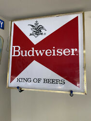 Vintage Budweiser King Of Beers/ Busch Light Lighted Beer Sign 4ft By 4ft