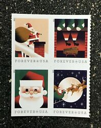 2021usa Forever A Visit From St Nick - Block Of 4 From Booklet Mint Christmas