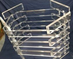 Vintage Stacked Lucite Dining Table W/glass Mid Century Modern Original