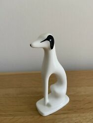 Cmielow Black And White Dog - Greyhound / Whippet Porcelain Ornament Collec
