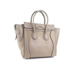 Celine Luggage Micro Shopper Hand Tote Bag 16779 Old Logo Dune Secondhand _88820
