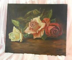 Lovely Antique Oil Painting Pink Red White Roses Signed