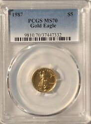 1987 5 Gold American Eagle Pcgs Ms-70 Free Shipping