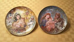 Knowles China Co. 1987 And 1988 Christmas Collector Plates Designed By Edna Hibel