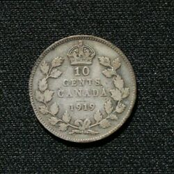 1919 Canadian Dime 10 Cent Coin - Silver .925