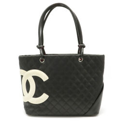 Cambon Line Coco Mark Large Tote Shoulder Soft Calf Black Whit _59030