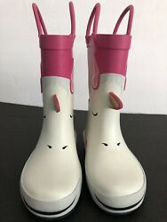 unicorn girls rainboots pink and white pull on toddler size 7 $14.00
