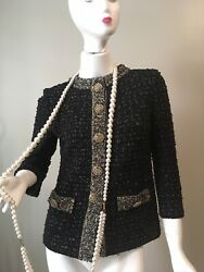 Stunning ST JOHN Couture Evening Black Knit Jacket Suit Shimmer New 2 $229.95