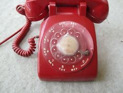 Vintage Red Bell System Western Electric Rotary Dial Desk Phone 500 Non Tested